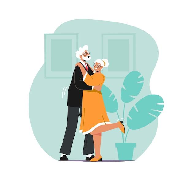 Casal de personagens idosos dançando sparetime, idosos estilo de vida ativo