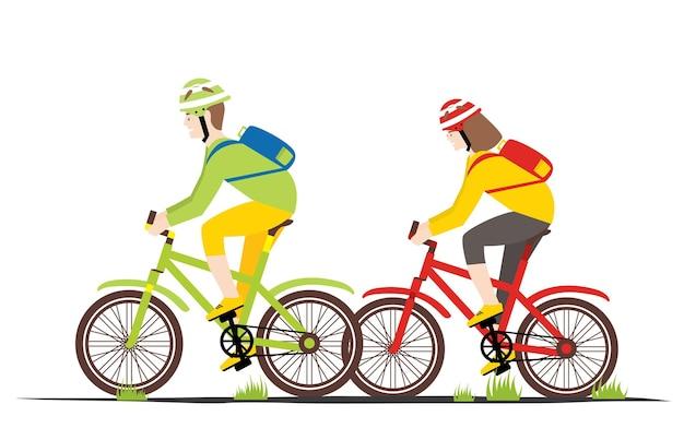 Casal de piloto de bicicleta em estilo simples. homem e mulher de bicicleta. ilustração vetorial.