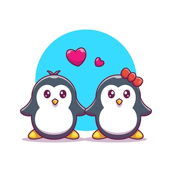 Casal de pinguim cair no ícone do amor. pinguim e amor, animal ícone branco isolado