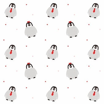 Casal de pinguim sem costura de fundo