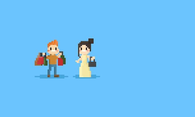 Casal de pixel com caráter de sacos de compras