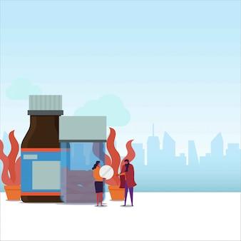 Casal de plano de medicação dar tablet para o casal que está doente.