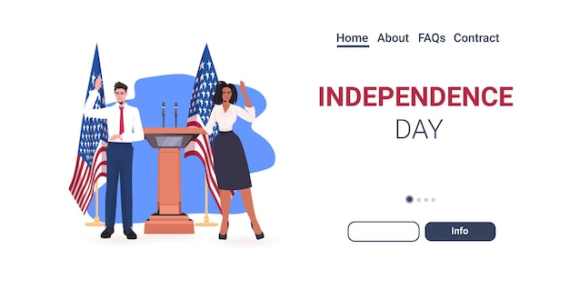 Casal de políticos fazendo discurso na tribuna com a bandeira dos eua, página inicial de celebração do dia da independência americana em 4 de julho
