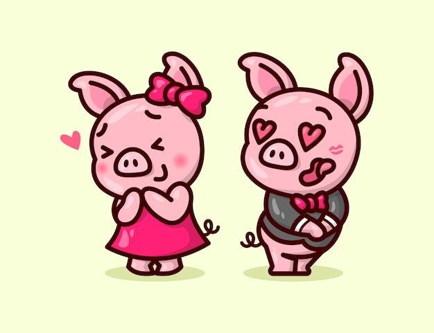Casal de porco bonito beija a boca de seu namorado e se sentimento tanto amor