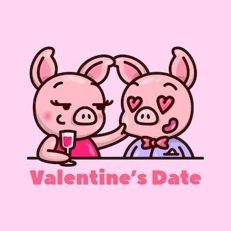 Casal de porco bonito namorando no dia dos valentim