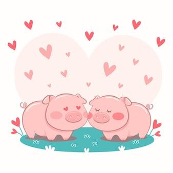 Casal de porcos fofo ilustrado