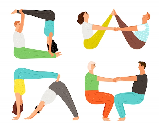Casal de poses de ioga