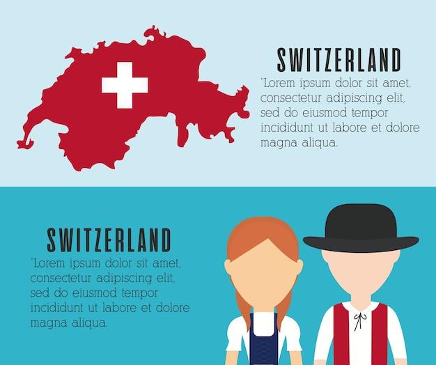 Casal de povos suíços e ícone de mapa do país suíço