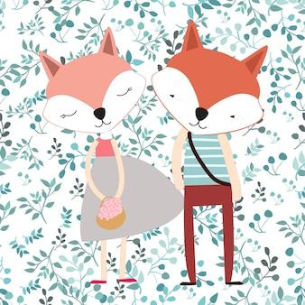 Casal de raposa bonito dos desenhos animados em licença sem costura primavera azul