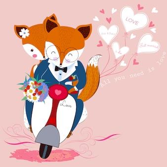 Casal de raposa bonito dos namorados no amor com buquê de flores na scooter e balões em forma de coração branco