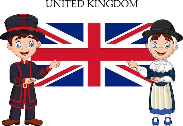 Casal de reino unido dos desenhos animados usando traje tradicional