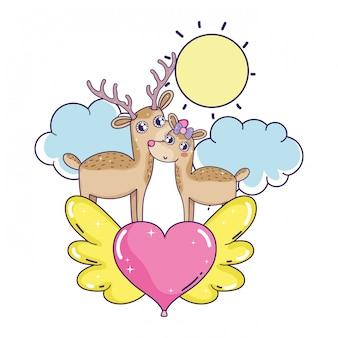 Casal de rena amor bonito com coração