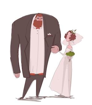 Casal de romance bonito dos desenhos animados - noiva e noivo