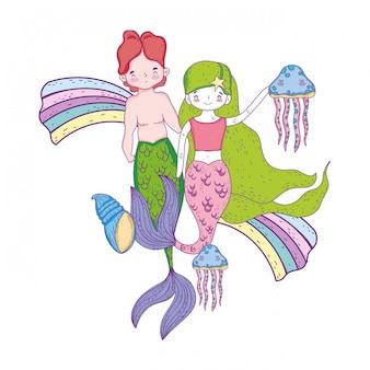Casal de sereias com arco-íris submarino