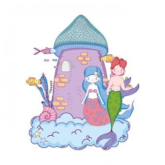 Casal de sereias com cena submarina do castelo