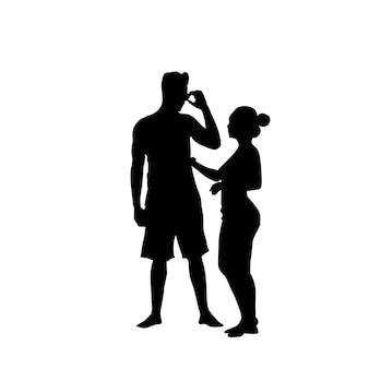 Casal de silhueta homem falar no telefone inteligente de celular permanente de comprimento total sobre fundo branco