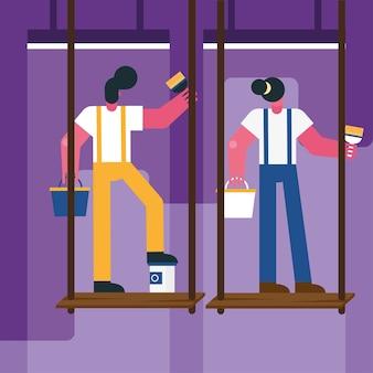 Casal de trabalhadores de construção remodelando pintura em desenho de ilustração vetorial de andaime