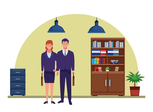 Casal de trabalhadores de profissionais sorrindo desenhos animados