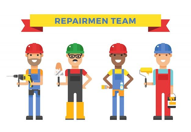 Casal de trabalhadores dos desenhos animados e ferramentas em ilustração vetorial de construção