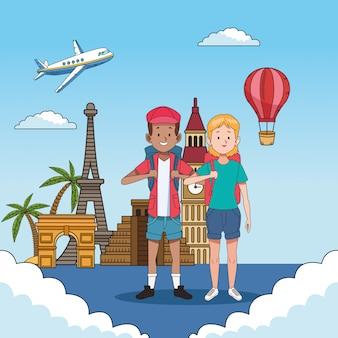 Casal de turista com personagens de lugares famosos