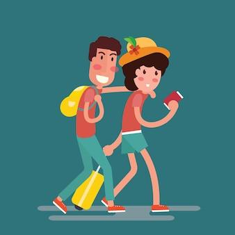Casal de turistas com mala de viagem