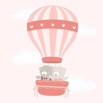 Casal de urso em um balão com padrão de coração de cor clara