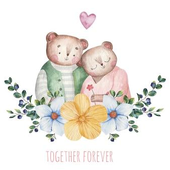Casal de urso fofo apaixonado