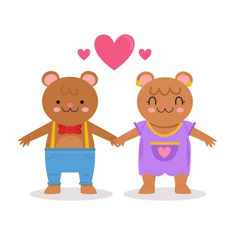 Casal de urso fofo dia dos namorados