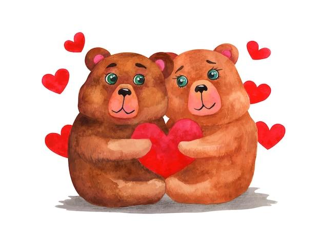Casal de urso fofo em aquarela de dia dos namorados
