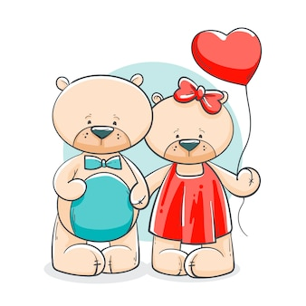 Casal de ursos desenhados à mão para o dia dos namorados