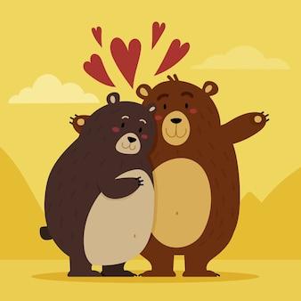 Casal de ursos do dia dos namorados com design plano