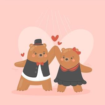 Casal de ursos do dia dos namorados desenhado à mão