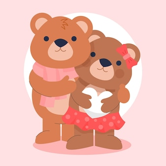 Casal de ursos fofos do dia dos namorados