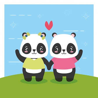 Casal de ursos panda, animais fofos, estilo plano e desenho animado, ilustração