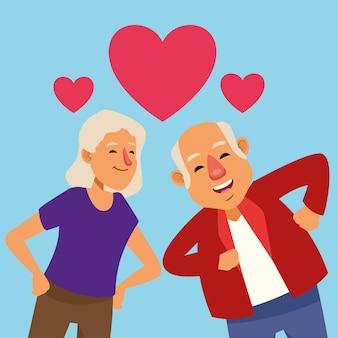 Casal de velhos amantes dançando com personagens de idosos ativos de corações.