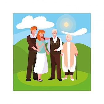 Casal de velhos e seus filhos adultos se divertindo juntos, duas gerações
