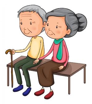 Casal de velhos em um banco
