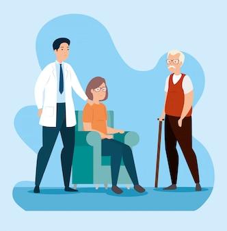 Casal de velhos na sala de espera com médico