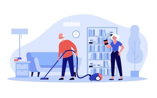 Casal de velhos positivos limpando a casa juntos. aspirador de pó, livro, ilustração vetorial plana de quarto