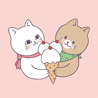 Casal de verão bonito dos desenhos animados e sorvete
