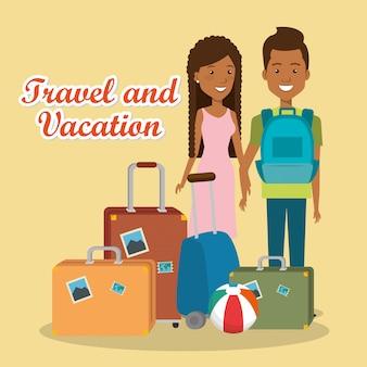Casal de viajantes com personagens de malas
