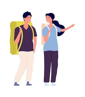 Casal de viajantes. mulher homem viajar com mochilas. pessoas felizes isoladas encontram viagem, personagens de vetor de turistas. homem e mulher mochileiros, casal de caminhadas de turismo, ilustração vetorial