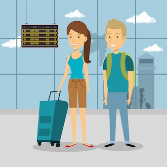 Casal de viajantes nos personagens do aeroporto