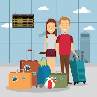 Casal de viajantes nos personagens do aeroporto