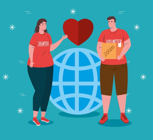 Casal de voluntários usando camisa vermelha com esfera e coração, caridade e conceito de doação de assistência social