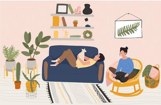 Casal descansa em casa, as pessoas relaxam no apartamento aconchegante, ilustração