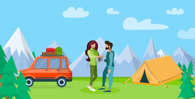Casal descansando nas montanhas ilustração plana