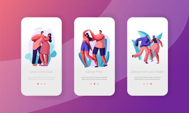 Casal descanso dançar juntos conjunto de tela a bordo da página do aplicativo móvel.