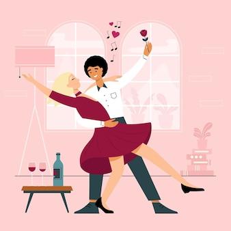Casal desenhado à mão plana dançando