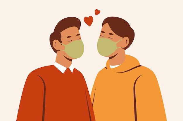 Casal desenhado à mão se beijando com ilustração de máscara cobiçosa